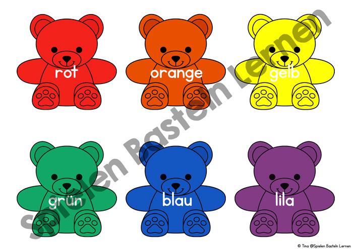 Bunte Regenbogenbären zum Ausdrucken und Farbenlernen. Super, wenn die Kinder tatsächlich Regenbogenbären haben, aber auch ohne sinnvoll nutzbar. Farben erkennen, sortieren, Farbwörter lernen, Farbfolge im Regenbogen und mehr für Vorschule und erste Klasse.