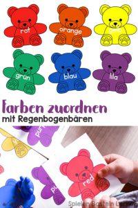 Mein 2jähriger steht total auf Regenbogenbären! Deshalb habe ich ihm mit wenig Aufwand ein Spiel gebastelt, bei dem es um Farben zuordnen mit Regenbogenbären geht. Perfekt, um Farben und Farbwörter zu lernen, besonders für Kleinkinder und jüngere Kindergartenkinder!