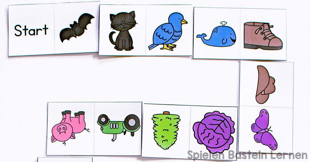 Farbendomino für Kindergartenkinder - Spielen Basteln Lernen