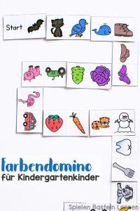 Spielerisch Farben üben mit diesem niedlichen Farbendomino für Kindergartenkinder zum Ausdrucken! Leicht vorzubereiten und immer wieder nutzbar.