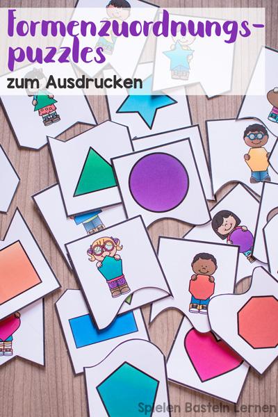 Mit diesen einfachen Formen-Zuordnungspuzzles macht es kleinen Kindern Spaß, Formen wie Rechteck, Quadrat, Herz, Stern, usw. zu lernen. Toll für Kindergarten, Vorschule und 1. Klasse.