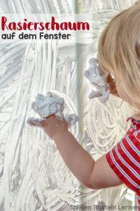 Super einfache Aktivitäten für Kinder sind genau mein Ding! Rasierschaum auf dem Fenster war genau das, und meine 2jährige Tochter hatten Riesenspaß damit.