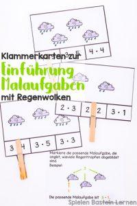 Einfache und niedliche Einführung in das Konzept der Multiplikation mit Klammerkarten: Malaufgaben mit Regenwolken, perfekt für Zweitklässler.