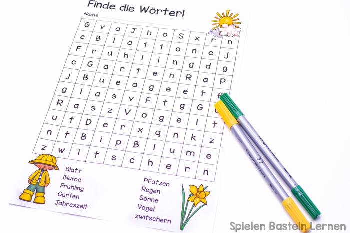 Erst- und Zweitklässler können Frühlingswörter lernen mit dieser einfachen Frühlingswörtersuche zum Ausdrucken!
