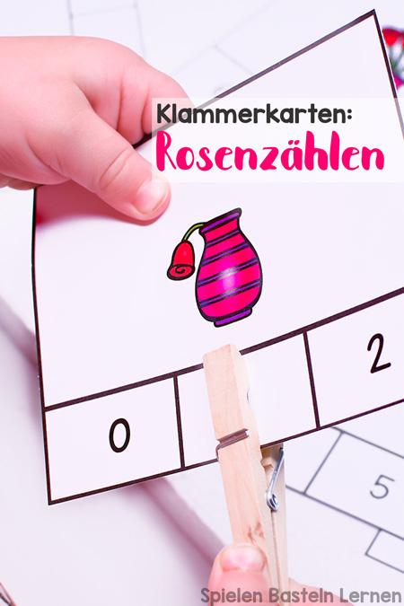 Klammerkarten: Rosenzählen! Super zum Zählenüben und Feinmotoriktrainieren! Einfache Matheübungen für Vorschulkinder und Erstklässler.