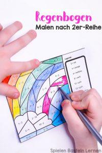 Multiplikation üben mit Malvorlage Regenbogen: Malen nach 2er-Reihe für Erst- und Zweitklässler!