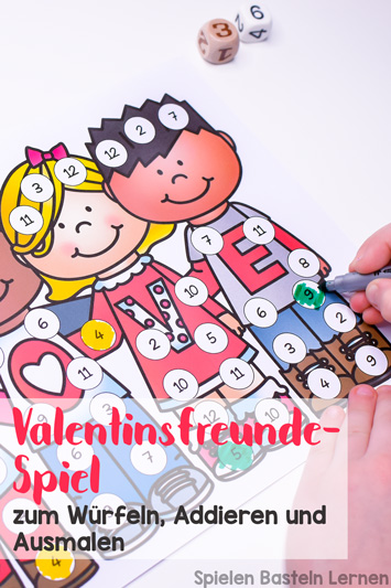 Mathe üben mit einem niedlichen Spiel für Erst- und Zweitklässler zum Ausdrucken: Valentinsfreunde-Spiel zum Würfeln, Addieren und Ausmalen