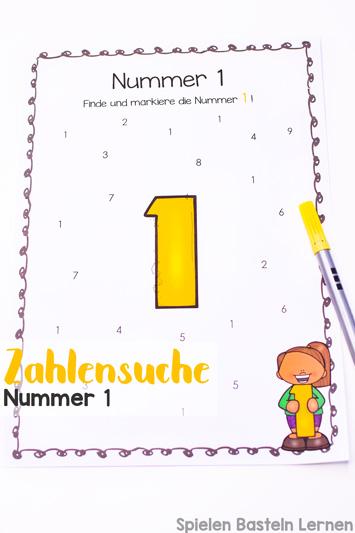 Einfache und niedliche Zahlensuche Nummer 1 zum Ausdrucken und sofort Benutzen. Perfekt für Vorschüler und Erstklässler, die Zahlen lernen.