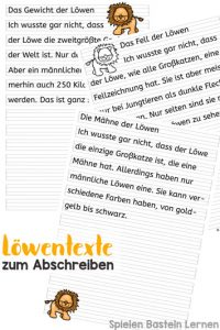 Schreiben üben und etwas über Löwen lernen: Löwentexte zum Abschreiben für Erst- und Zweitklässler. Drei verschiedene Texte mit Bildern in Farbe und schwarz-weiß.