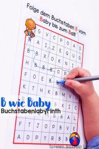 Den Buchstaben B kennen und erkennen lernen mit diesem einfachen B wie Baby Buchstabenlabyrinth für Vor- und Grundschüler. Keine Vorbereitung nötig, einfach ausdrucken und lernen!