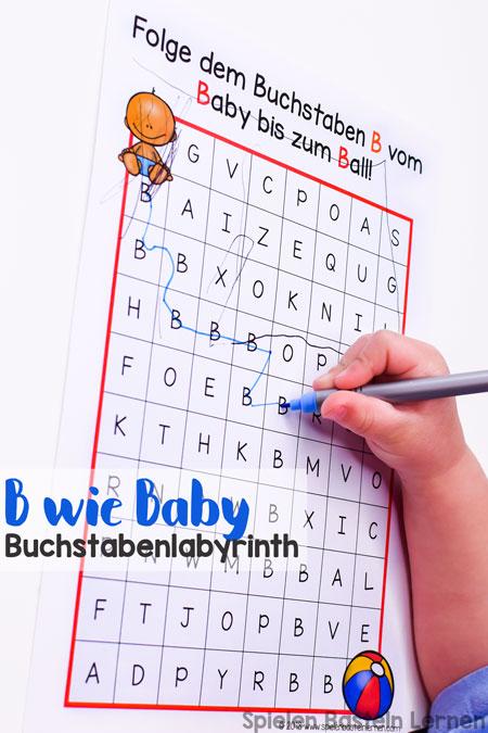 Den Buchstaben B kennen und erkennen lernen mit diesem einfach B wie Baby Buchstabenlabyrinth für Vor- und Grundschüler. Keine Vorbereitung nötig, einfach ausdrucken und lernen!