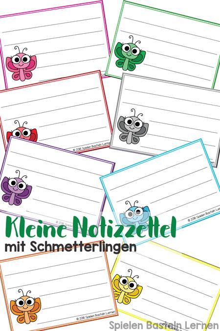 Du willst was aufschreiben oder jemandem eine kurze Nachricht schicken? Mit diesen kleinen Notizzetteln mit Schmetterlingen machst Du das auf niedliche Art :)