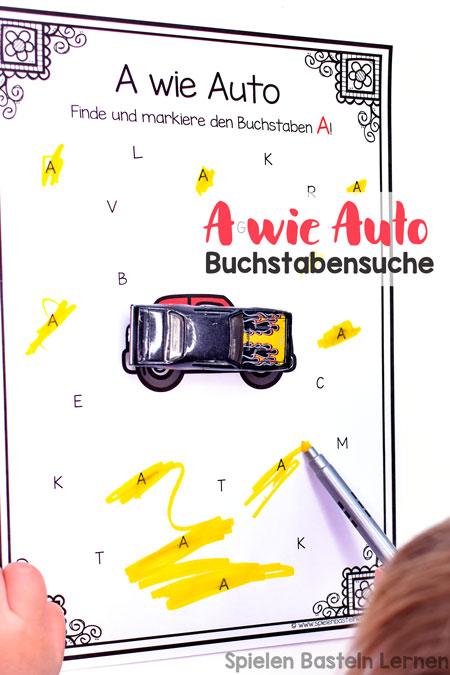Finde und erkenne den Buchstaben A mit dieser A wie Auto-Buchstabensuche für Vorschüler und Erstklässler.