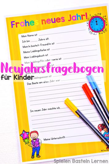 Tolle Erinnerung: Neujahrsfragebogen für Kinder zum Ausdrucken und direkt Ausfüllen! Wer war in diesem Jahr mein bester Freund, was war mein Lieblingsessen, wie sah meine Unterschrift aus?