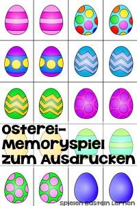 Klassisches Spiel, das Du sofort ausdrucken und innerhalb von ein paar Minuten mit Kindergarten- und Grundschulkindern spielen kannst: Osterei-Memoryspiel!