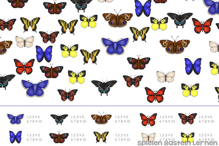 Zählen lernen, visuelle Unterschiede erkennen, 1:1-Zuordnung und mehr könnt Ihr mit diesem Schmetterlings-Such-und Zählspiel üben! Einfach ausdrucken und loslegen, perfekt für Kindergartenkinder und Erstklässler!